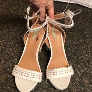 Shoes - Super sexy winter white strappy heals size 9.5